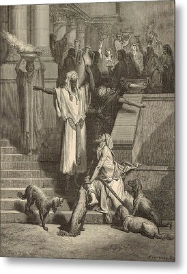 Lazarus And The Rich Man Metal Print by Antique Engravings