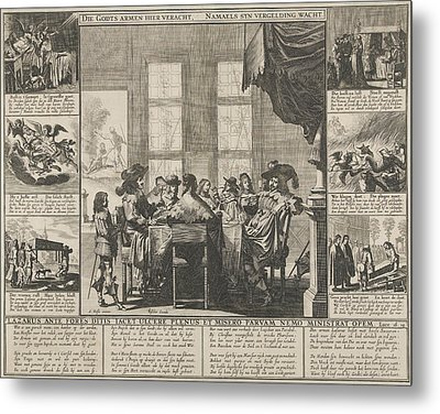 Lazarus And The Rich Man, Pieter Nolpe Metal Print by Pieter Nolpe And Claes Jansz. Visscher (ii)