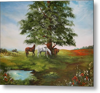 Metal Print featuring the painting Lazy Days In Summer by Jean Walker