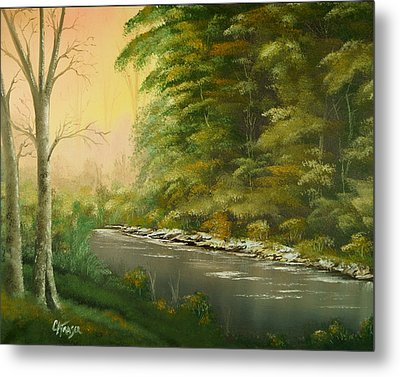 Metal Print featuring the painting Lazy River by Chris Fraser