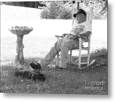 Lazy Weekend Resting Bw Metal Print by Angelia Hodges Clay