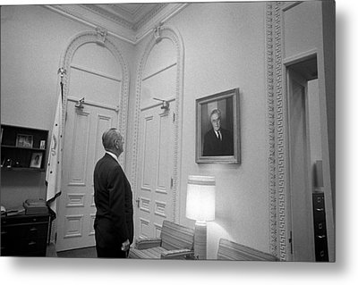 Lbj Looking At Fdr Metal Print by War Is Hell Store