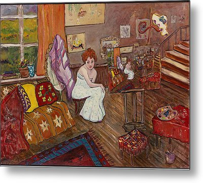 Metal Print featuring the painting Le Atelier by Elaine Elliott