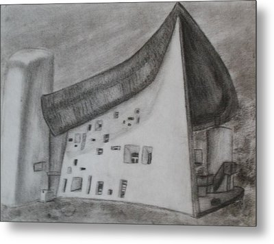 Metal Print featuring the drawing Le Corbusier by Thomasina Durkay
