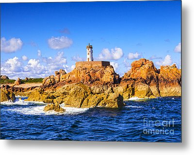 Le Phare Du Paon Lighthouse Brittany Ile De Brehat Metal Print by Colin and Linda McKie