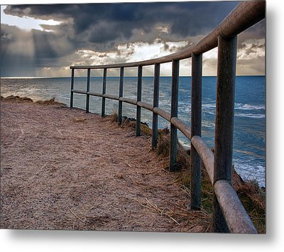 Rail By The Seaside Metal Print