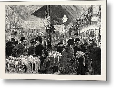 Leadenhall Market At Christmas Eve Engraving 1884 Metal Print