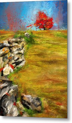 Leading Red - Autumn Impressionist Metal Print