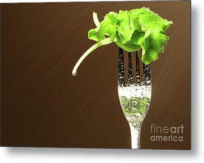 Leaf Of Lettuce On A Fork Metal Print by Sandra Cunningham