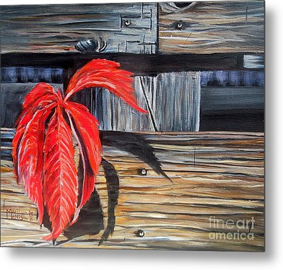 Leaf Shadow 2 Metal Print by Marilyn  McNish
