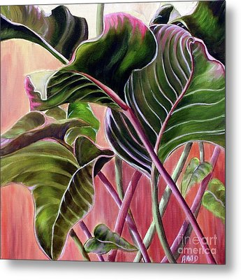 Metal Print featuring the painting Leafy by Anna-Maria Dickinson
