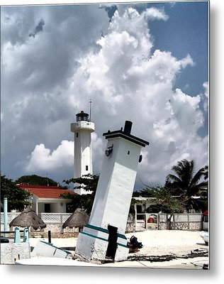 Leaning Lighthouse Of Mexico Metal Print by Farol Tomson
