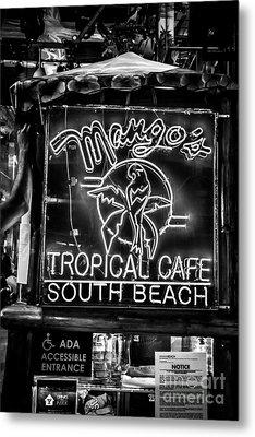 Leaning On Mango's South Beach Miami - Black And White Metal Print