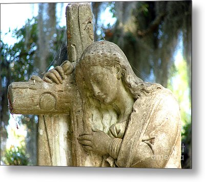 Leaning On The Cross Metal Print