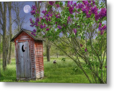 Leaning Outhouse Metal Print by David Simons