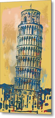 Leaning Tower Of Pisa  - Pop Stylised Art Poster   Metal Print by Kim Wang
