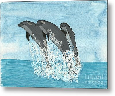 Leaping Dolphins Metal Print by Tracey Williams