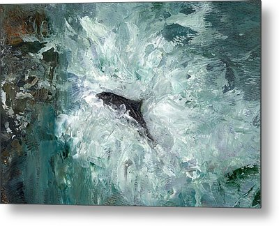 Leaping Salmon Metal Print by Carol Rowland