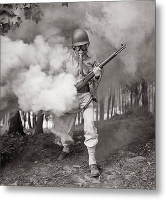 Learning How To Use A Gas Mask Circa 1942 Metal Print by Aged Pixel