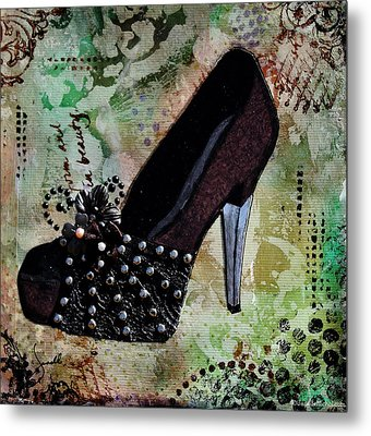 Leather And Lace Shoes With Abstract Background Metal Print