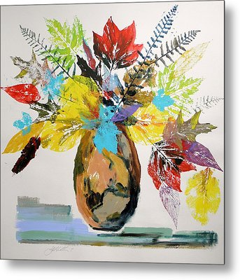 Metal Print featuring the painting Leaves And Fronds by John Williams