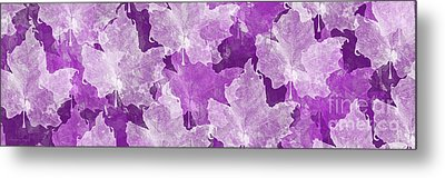 Leaves In Radiant Orchid Panorama Metal Print by Andee Design