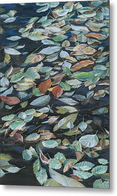 Leaves On Pond Metal Print