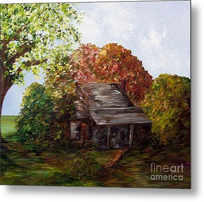 Metal Print featuring the painting Leaves On The Cabin Roof by Eloise Schneider