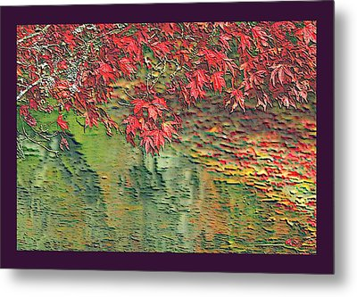 Leaves On The Creek 3 With Small Border 3 Metal Print by L Brown
