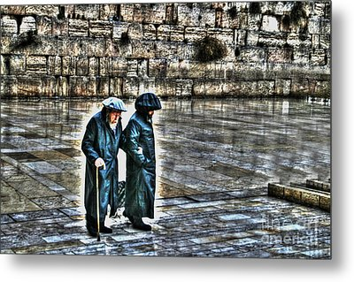 Metal Print featuring the photograph Leaving The Western Wall In Israel by Doc Braham