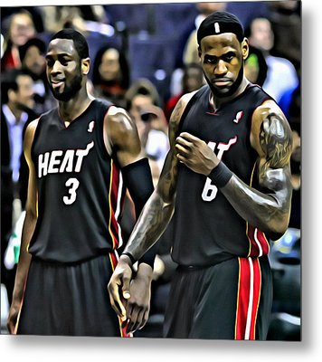 Lebron James And Dwyane Wade Metal Print by Florian Rodarte