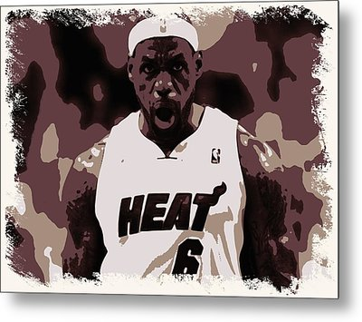 Lebron James Victory Celebration Metal Print by Florian Rodarte