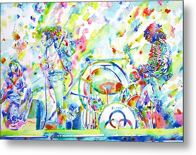 Led Zeppelin Live Concert - Watercolor Painting Metal Print by Fabrizio Cassetta
