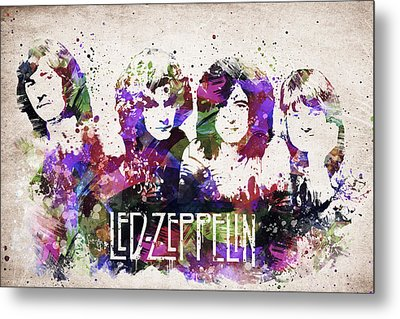 Led Zeppelin Portrait Metal Print by Aged Pixel