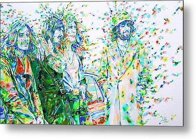 Led Zeppelin - Watercolor Portrait.2 Metal Print by Fabrizio Cassetta