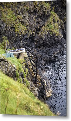 Ledge Boat Carrick-a-rede Northern Ireland Metal Print