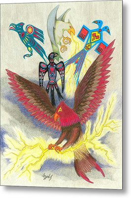 Legend Of The Thunderbird Metal Print by Lew Davis