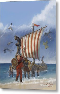 Metal Print featuring the painting Legendary Viking by Rob Corsetti