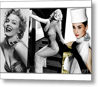 Legends Marilyn Monroe Jane Mansfield And Audrey Hepburn Metal Print