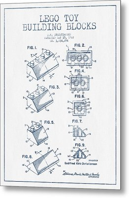 Lego Toy Building Blocks Patent - Blue Ink Metal Print by Aged Pixel