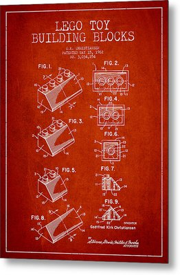 Lego Toy Building Blocks Patent - Red Metal Print by Aged Pixel