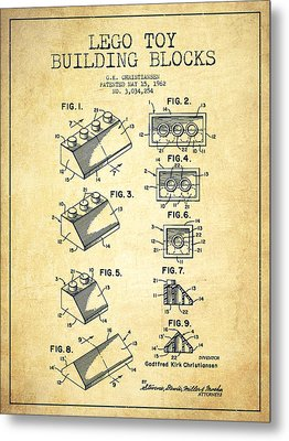 Lego Toy Building Blocks Patent - Vintage Metal Print by Aged Pixel