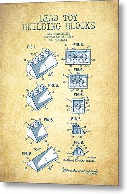 Lego Toy Building Blocks Patent - Vintage Paper Metal Print by Aged Pixel
