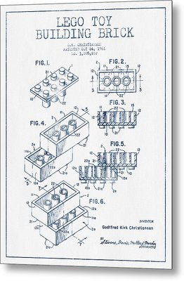 Lego Toy Building Brick Patent - Blue Ink Metal Print by Aged Pixel