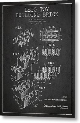 Lego Toy Building Brick Patent - Dark Metal Print by Aged Pixel