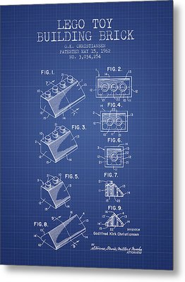 Lego Toy Building Brick Patent From 1962 - Blueprint Metal Print