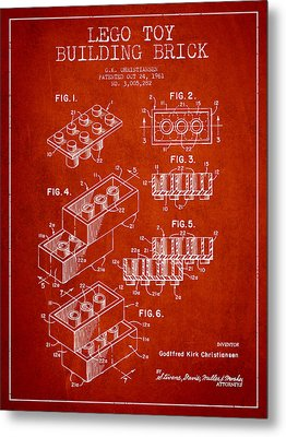 Lego Toy Building Brick Patent - Red Metal Print by Aged Pixel