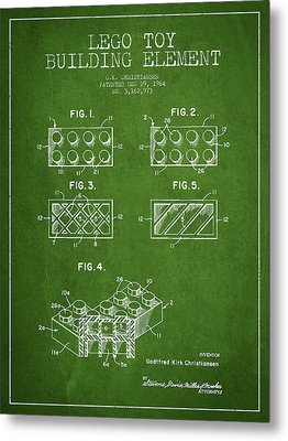 Lego Toy Building Element Patent - Green Metal Print by Aged Pixel