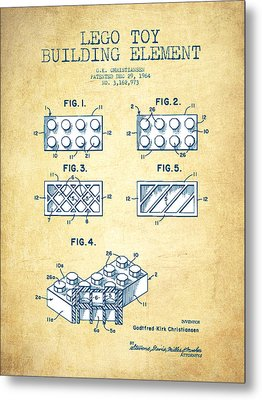 Lego Toy Building Element Patent - Vintage Paper Metal Print by Aged Pixel