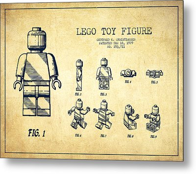 Lego Toy Figure Patent Drawing From 1979 - Vintage Metal Print